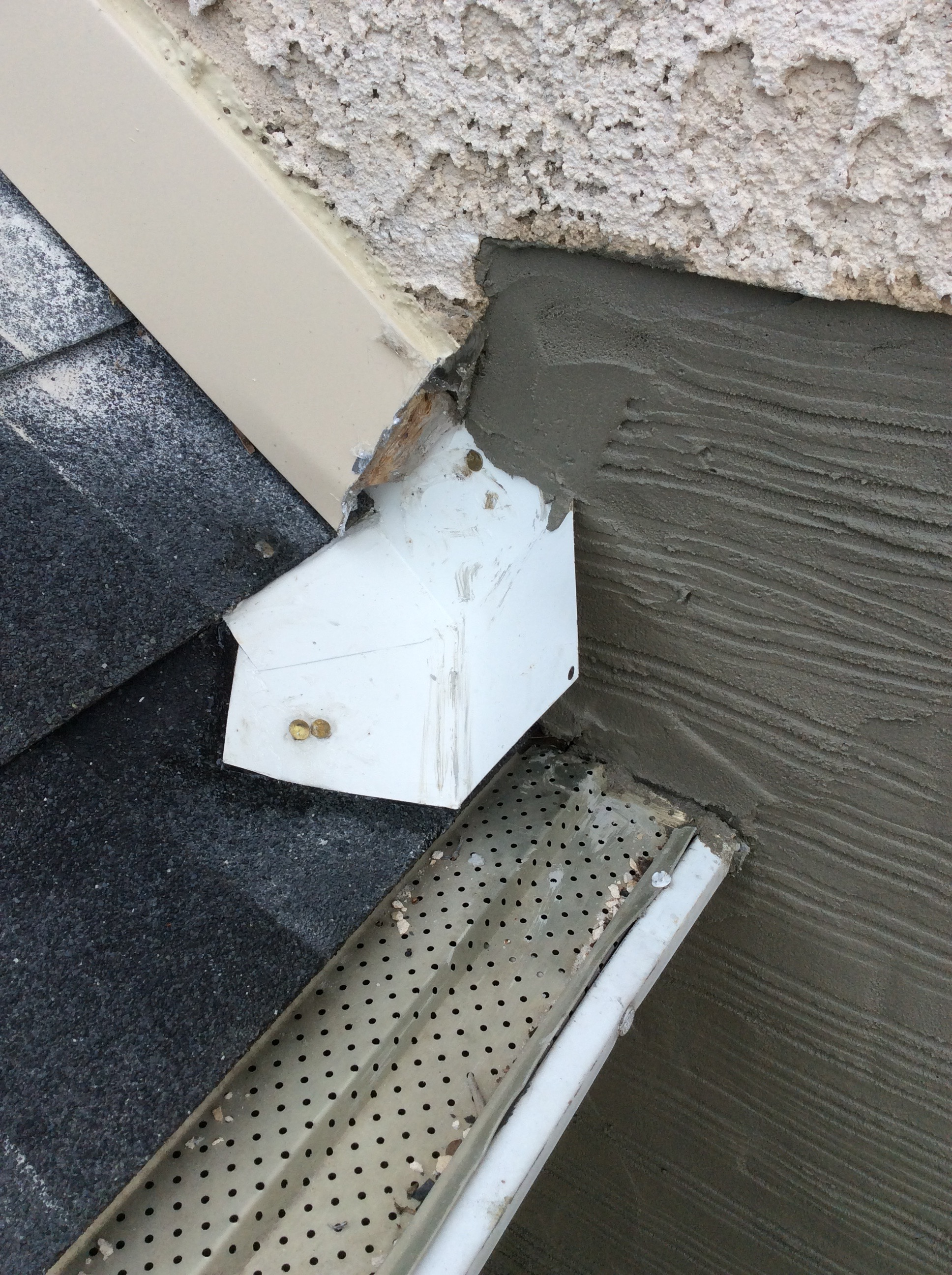 Kick-out Diverters keep water away from stucco walls.