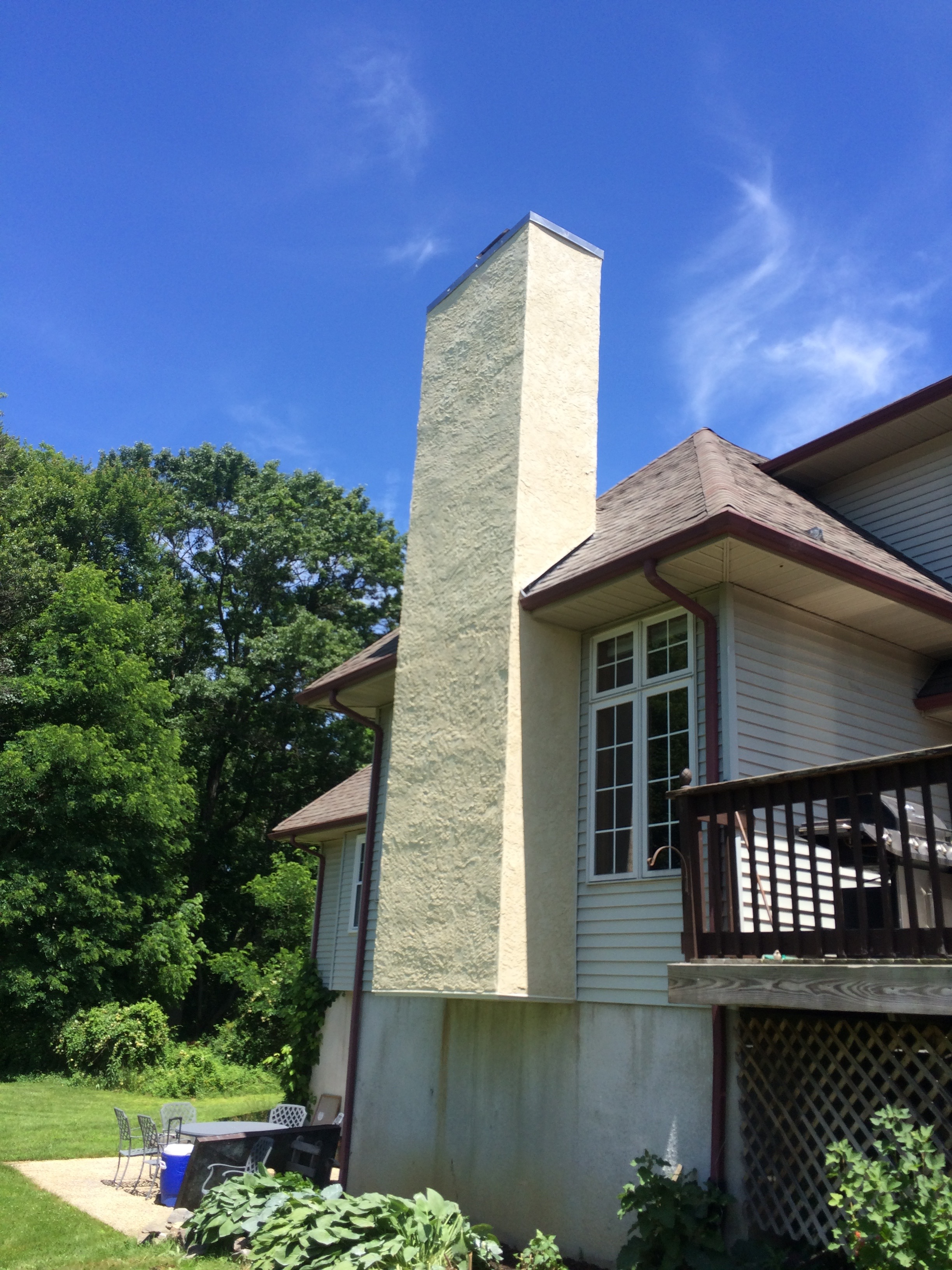 A custom stucco chimney.